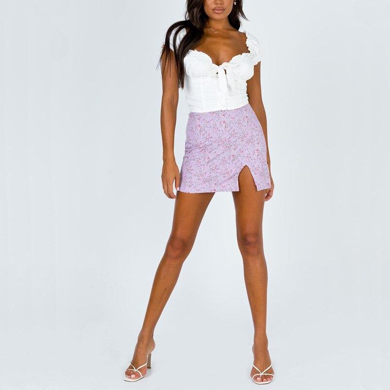 Beach High Waist Floral Women Short Skirts Casual And Split Sexy Bodycon Skirt A-line Chiffon Beach Holiday Mini Skirt