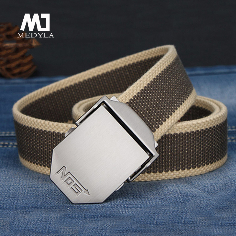 Men Canvas Belts Striped Adult Ultra Long 140cm Automatic Buckle Knitted Belt