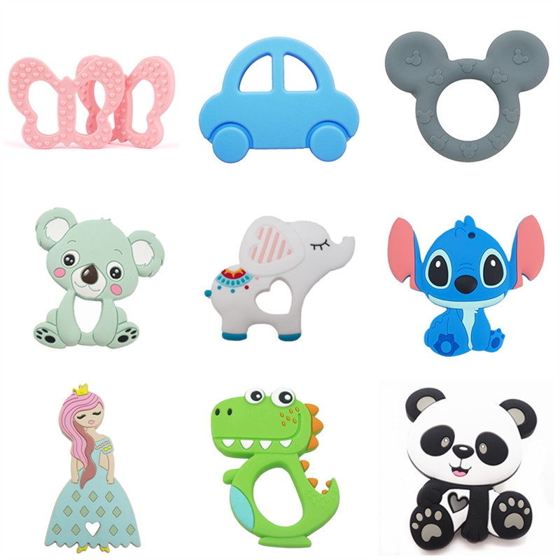 Chenkai 10PCS Silicone Koala Elephant Unicorn Dinosaur Teether DIY Baby Pacifier Dummy Teething Nursing Jewelry Toy Gift