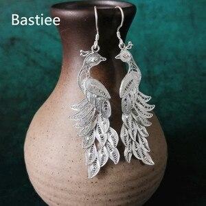 Image 5 - Bastiee 999 Sterling Silver Peacock Earrings Bohemian Drop Dangle Earings Ethnic Handmade Luxury Fine Jewelry Boho New Arrival