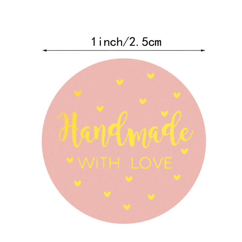 """500pcs """"Handmade With Love"""" Kraft Paper Stickers 25mm Round Adhesive Labels Baking  wedding decoration party decoration Sticker 3"""