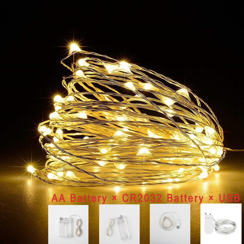 1m 2m 5m Battery Operated Garland Lights Fairy Home Christmas Wedding Party Decoration 5V LED String Lights USB 10M