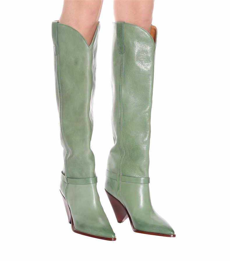 Botas altas hasta la rodilla para Mujer Botas Mujer Zapatos puntiagudos De lujo Botki Damskie Retro Botas femeninas Zapatos De Mujer