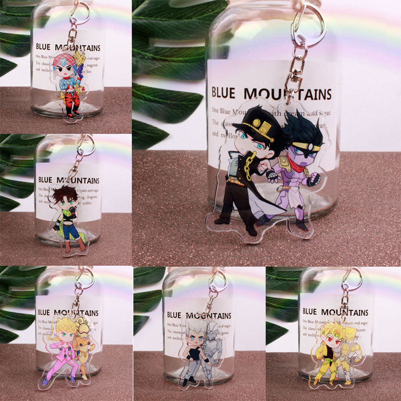Anime Jojos Bizarre Adventure Keychain Cartoon Figure Acrylic Pendant Backpack Key Ring