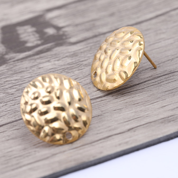 Onwear 10pcs Gold Plated 16mm Pad Earring Posts Findings Diy Earrings Connectors For Jewelry Making Accessories