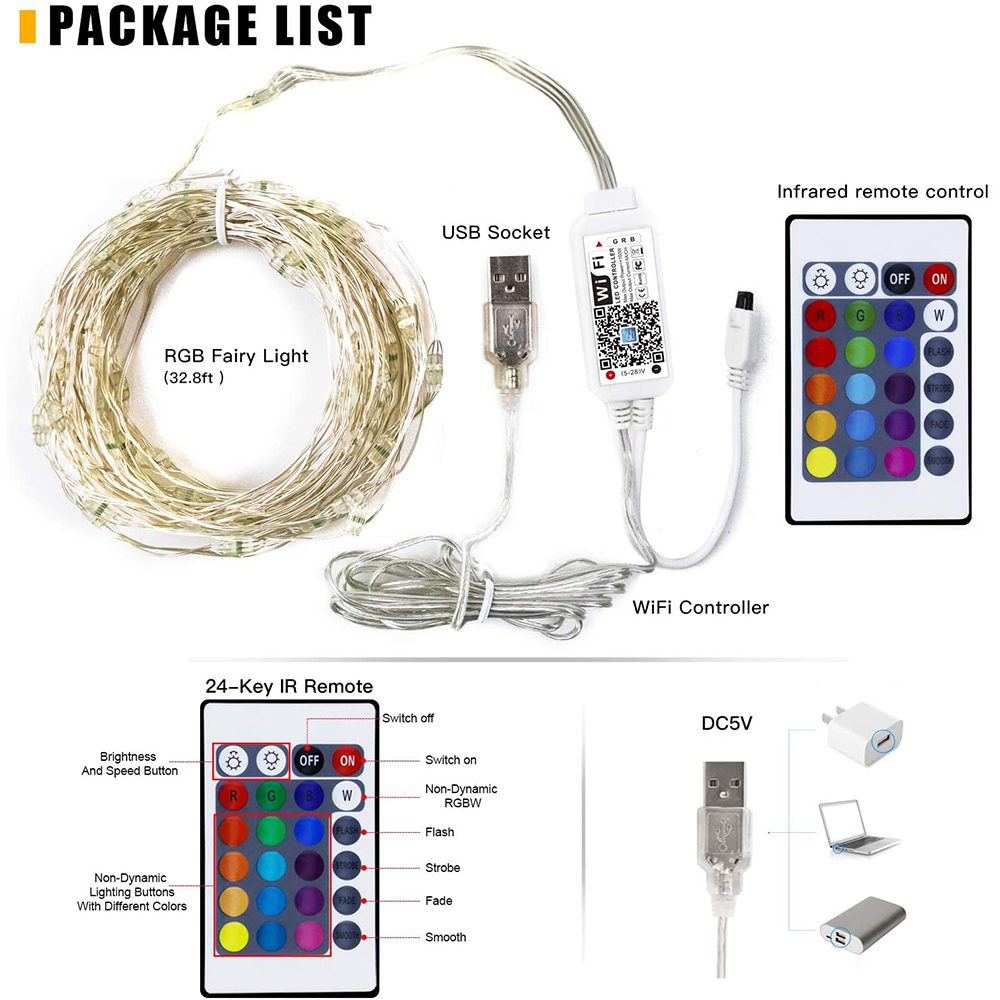 2-20M RGB LED String Light Strip Xmas Tree Decoration Lights App Remote Control-4
