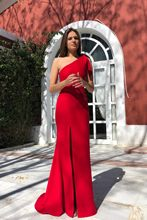 2019 Summer New Women's Clothing Solid Sexy One-shoulder Sleeveless Split Elegant Women Long red Dress Club Party Bodycon Dress(China)