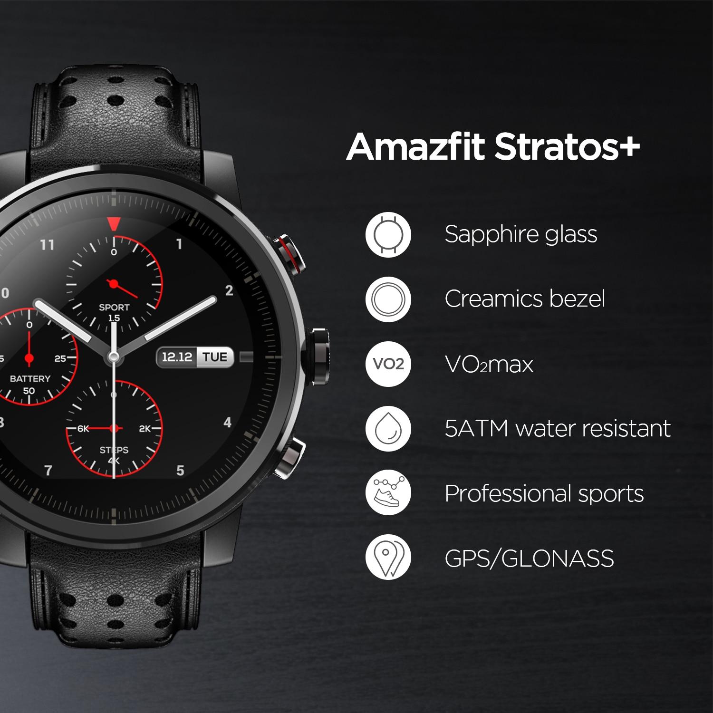 2019 nouvelle Amazfit Stratos + montre intelligente phare bracelet en cuir véritable boîte cadeau saphir 2S - 3