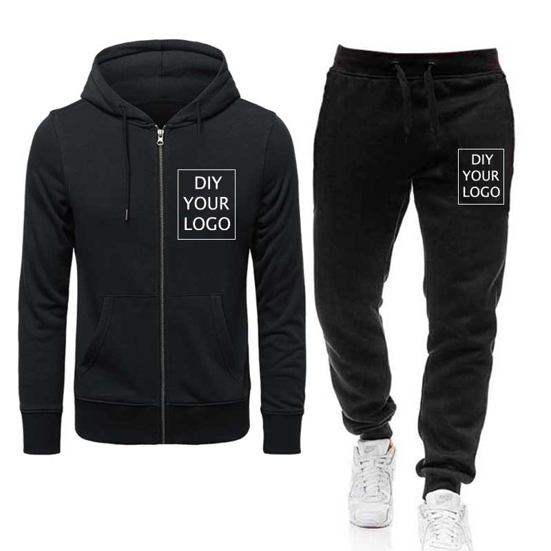 DIY Your Logo hoodies suits Print photos zipper hoodies and pants Custom Own brand Sweatshirts drop shipping Pullover tracksuits