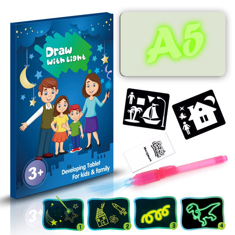 Draw With Light Glow In Dark Children Kids Paint Toy Luminous Drawing Board Sketchpad Set Educational Toys Gift For Girls Boys