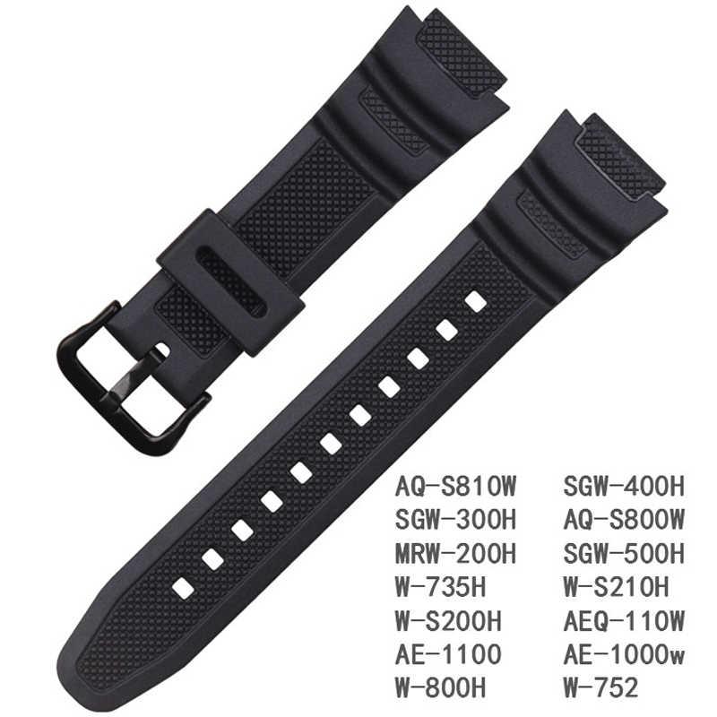 جديد سيليكون حزام ل كاسيو AE-1000w AQ-S810W SGW-400H/SGW-300H المطاط مربط الساعة دبوس مشبك حزام ووتش أسورة يد الأسود