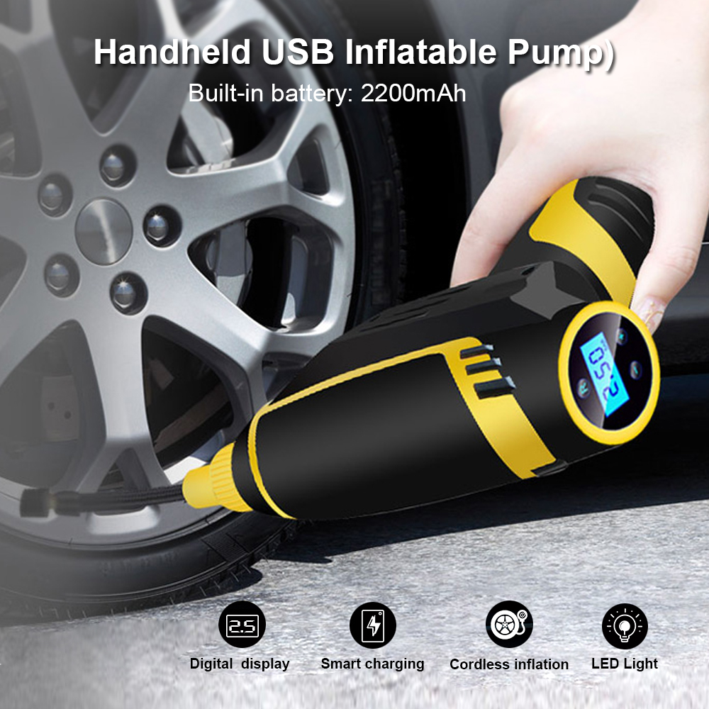 Zeepin Car Inflatable Pump USB Charging Cordless Handheld Electric Digital Display Air Compressor Pump LED Light For Motor Truck