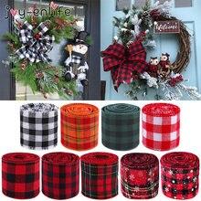 6m/rolle Weihnachten Leinen Tartan Bänder Stoff Handgemachte Handwerk Geschenk Verpackung Weihnachten Dekoration Für Home Weihnachten Noel Natal 2020