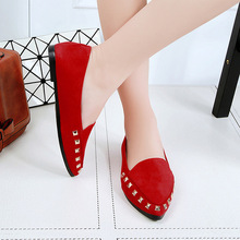 Pointed Toe Slip-on Shoes Women Faux Suede Flats Fashion Rivet Spring Autumn Ladies Casual Woman Elegant Party Shine Style