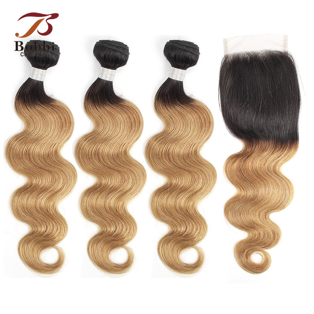 BOBBI COLLECTION 1B 27 Indian Body Wave 2/3 Bundles Ombre Honey Blonde Bundles With Closure 10-24 Inch Non-Remy Human Hair Weave