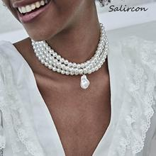 Salircon Bohemian Elegant White Imitation Pearl Necklace Statement Temperament  Water Drop Bead Pendant Choker Necklace Women faux pearl water drop velvet choker