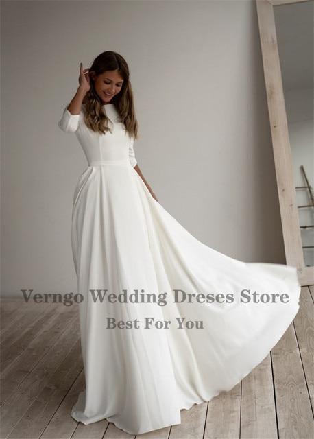 Verngo Simple Wedding Dress Long Sleeves A Line Crepe Boat Neck Elegant Bridal Dresses With Pockets Plus Size robe de mariee 3