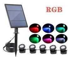 Holofotes solares à prova d' água ip68, iluminação amfibiosa para paisagem, áreas externas, cor rgb, ajustável