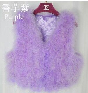 Новинка, женский жилет из натурального меха страуса, меховое пальто из страуса, Меховая куртка, много цветов,, низкая цена, F1092 - Цвет: light purple