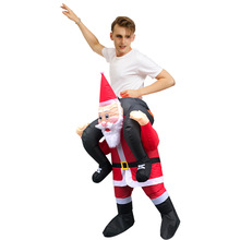 Inflatable Santa Claus Costume Christmas Party Fancy Dress for Adults Purim Carnival Cosplay Suit Mascot Rider Halloween Outfits chicken inflatable rooster rider costumes for adults halloween carnival cosplay party fancy dress women men birthday outfits red
