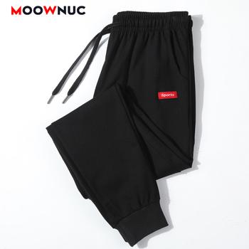 Męskie spodnie spodnie dresowe dla joggerów spodnie bawełniane proste moda na co dzień szczupły mężczyzna Streetwear elastyczne Masculino MOOWNUC Hip Hop tanie i dobre opinie Mieszkanie Poliester COTTON NONE REGULAR Pełnej długości NB1008 Midweight Suknem Sznurek