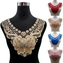 1 шт. полиэстер ажурное ожерелье с цветами кружева женская блузка DIY Вышивка французская кружевная ткань аппликация на вырез горловины шитье ремесла