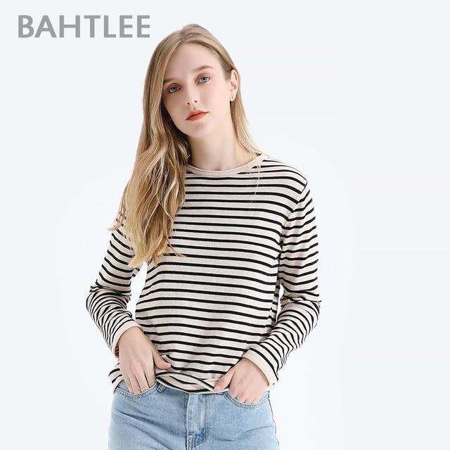 BAHTLEE אביב סתיו נשים סוודרי צמר שחור לבן פסים סוודר סרוג Jumper ארוך שרוולים O צוואר Loose סגנון
