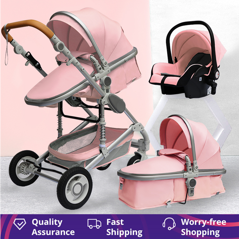 Luxurious Baby Stroller 3 in 1 Portable Travel Baby Carriage Fold Pram High Landscape Aluminum Frame Newborn Infant Stroller