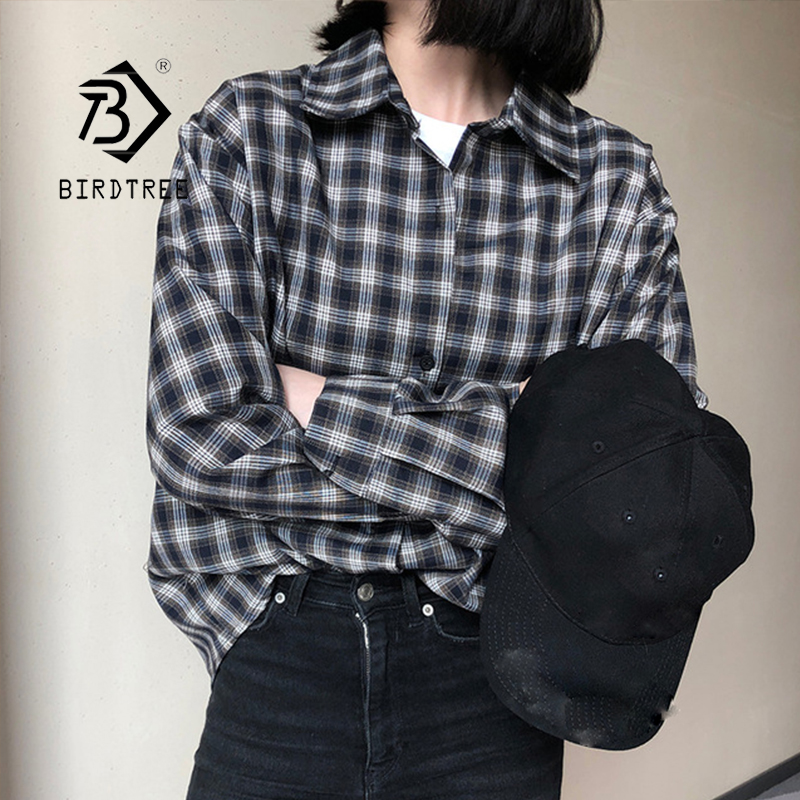 New Arrival Women Vintage Plaid Shirt Turn-down Collar Button Up Batwing Long Sleeve Blouse Loose Korea Style Top Feminina Blusa