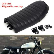 Black Motorcycle Retro Seat Universal Motorcycle Cafe Racer Seat Flat Brat Seat Saddle For Yamaha Honda Motorbike Cushion Black high quality black vintage flat brat styling cafe racer seat saddle pu leather motorcycle flat brat seat for honda cb yamaha sr