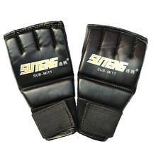 1 Pair PU Leather Half Finger Gloves Pointing Boxing Gloves Gloves With Fingerless Training Gloves Breathable Boxing V1E3