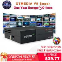 GTMedia V9 Super Receptor de satélite bult-in WiFi con 1 año de España europa Cccam Full HD DVB-S2/S Freesat V9 súper Receptor
