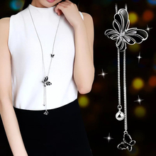 Fashion Korean Butterfly Necklace Long Pendant Adjustable Jewelry Sweater Party Decoration