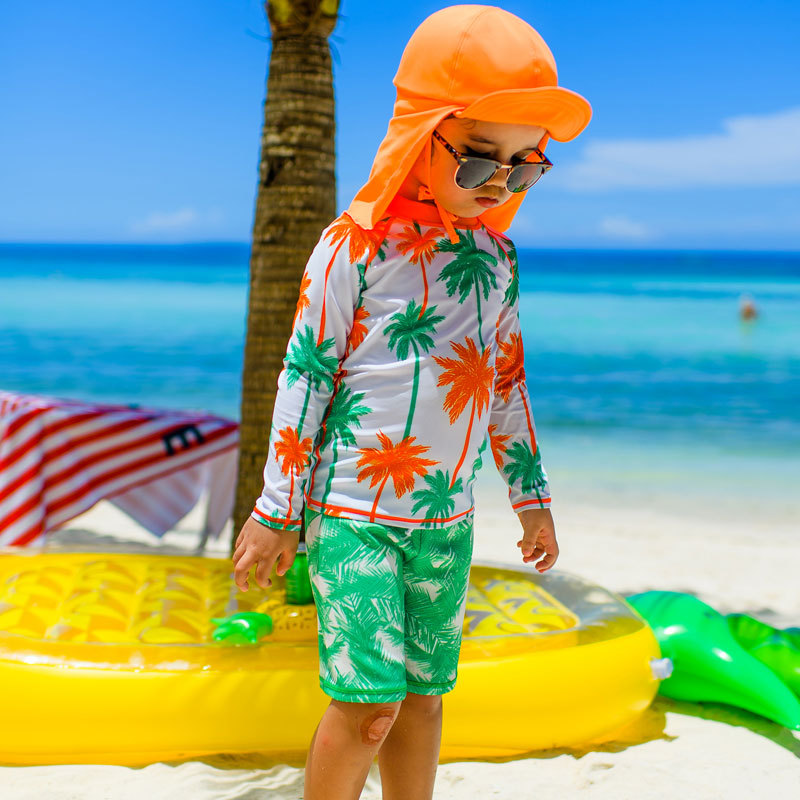 2019 New Style BOY'S Children Diving Suit Outdoor Long Sleeve Two-piece Swimsuits Sun-resistant Quick-Dry Big Boy Hooded Bathing