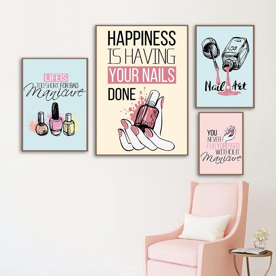 Современная женская модная холщовая картина розовый лак для ногтей картина для ногтей плакат и печать домашний декор для магазина маникюра