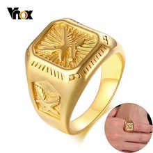 Vnox Chunky Mens Eagle Ring Gold Tone Stainless Steel Square Top with Rays Signet Ring Heavy Animal Band