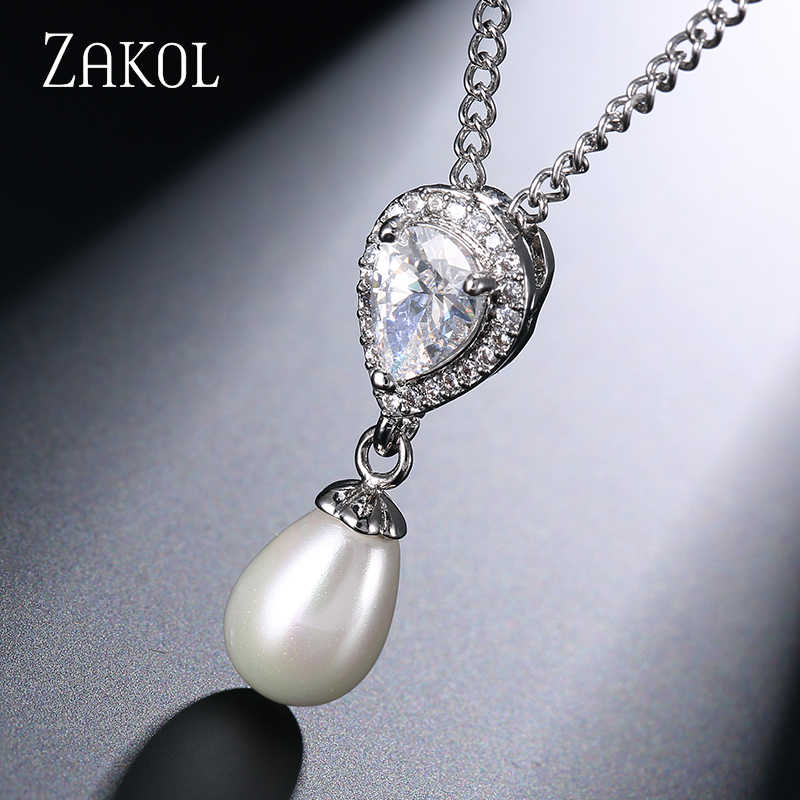 ZAKOL Exquisite White Color Simulated Pearl Jewelry Set Fashion Cubic Zircon Earrings Neckalce Set for Women Party FSSP323
