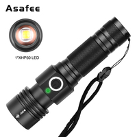 1000LM Mini Portable Small LED Flashlight Torch 18650 XHP50 LED 4 Modes USB Charging Zoomable Magnet Flashlight Rechargeable