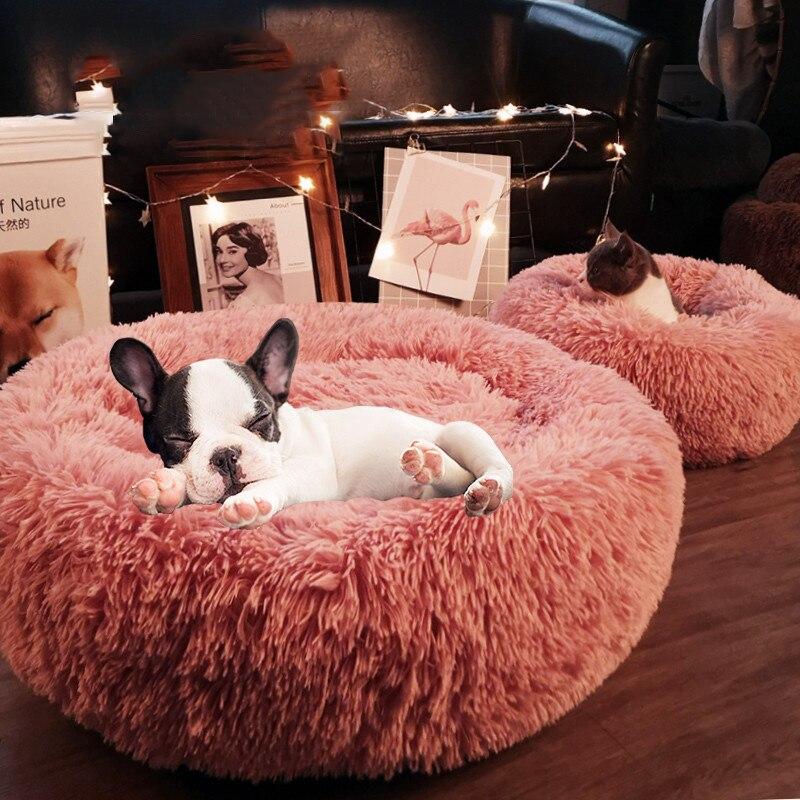 Супер мягкая кровать для питомца, Круглый спальный мешок для собаки, зимний теплый спальный мешок для собаки, длинный плюшевый коврик для щенка, бархатные коврики для собаки, диван для собаки