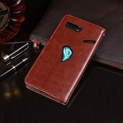 Dla Asus Rog telefon 2 etui portfel etui z klapką biznes skóra Capa telefon etui na Asus Rog telefon 2 ZS660KL pokrywa Coque akcesoria w Etui na portfel od Telefony komórkowe i telekomunikacja na