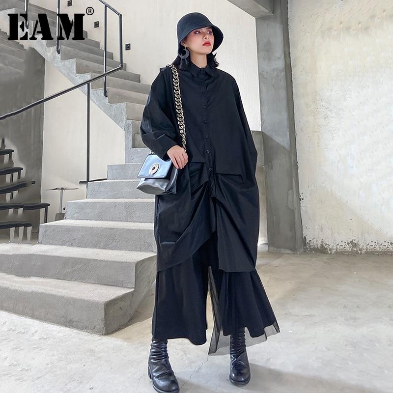 [EAM] Women Black Pleated Split Big Size Blouse New Lapel Long Sleeve Loose Fit Shirt Fashion Tide Spring Autumn 2020 1R501