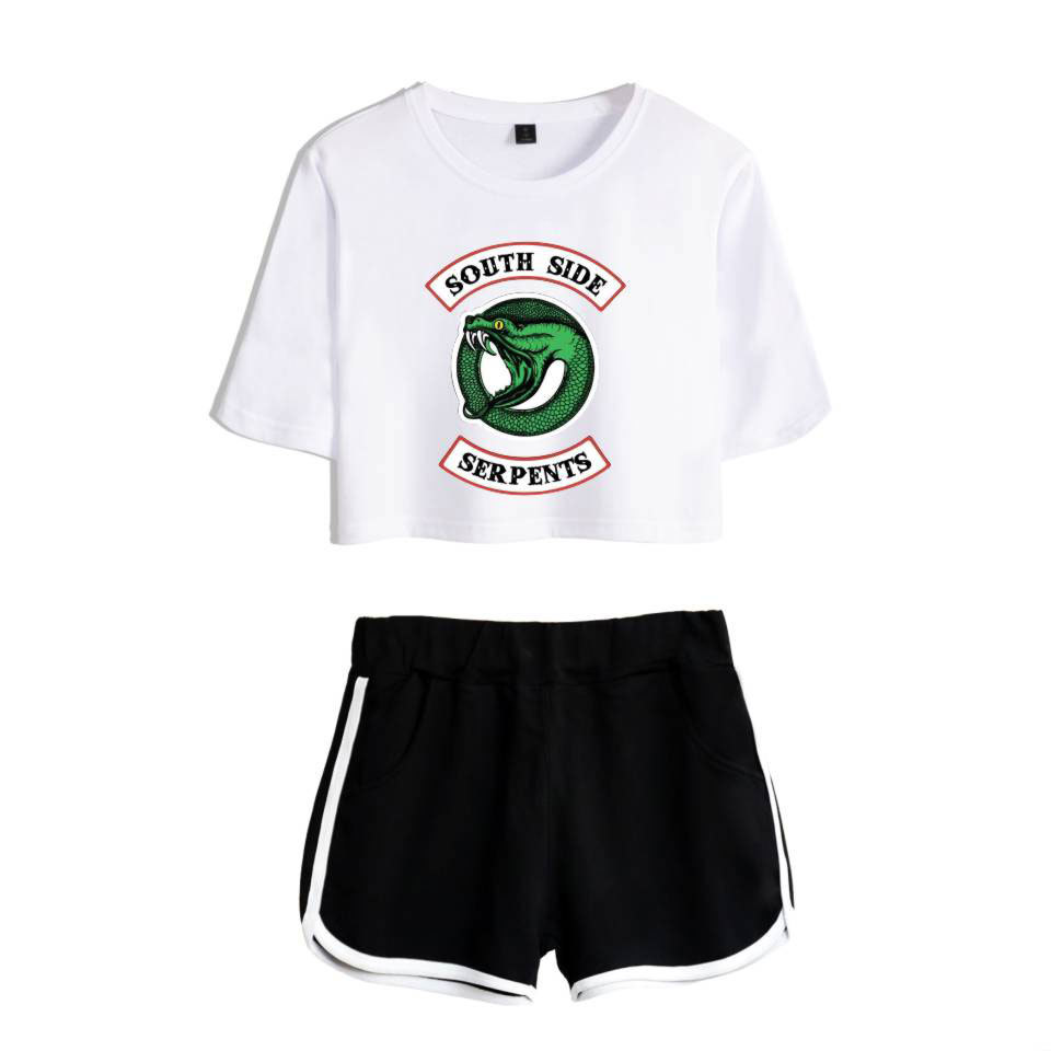 Image 1 - Fashion  American TV Riverdale Women Sexy Summer T Shirt  Woman New Suit Shorts Crop Fashion Top Shorts Two Piece SetWomens Sets   -