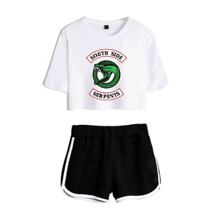 Image 1 - Fashion  American TV Riverdale Women Sexy Summer T Shirt  Woman New Suit Shorts Crop Fashion Top Shorts Two Piece Set