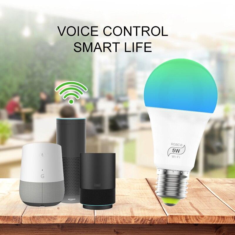 WiFi Smart Light Bulb Sunrise Wake-Up Wifi Lights,Cellphone Control Color Tunable Soft,Cool White,RGB Led Light Bulb 5W