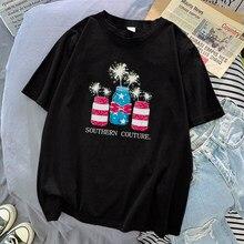 Sud Couture Fumée Vase Femmes T-Shirt Lâche T-Shirt Vêtements Décontracté Harajuku Col Rond T-Shirt Femmes Lâche Kawaii Hauts