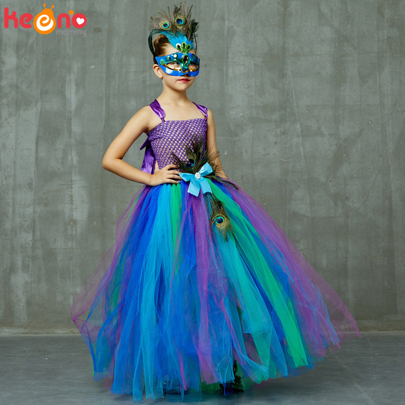 High-end Girls Peacock Princess Tutu Dress with Mask Flower Feathers Girl Ball Gown Dresses Tulle Kids Party Pageant Costume 2