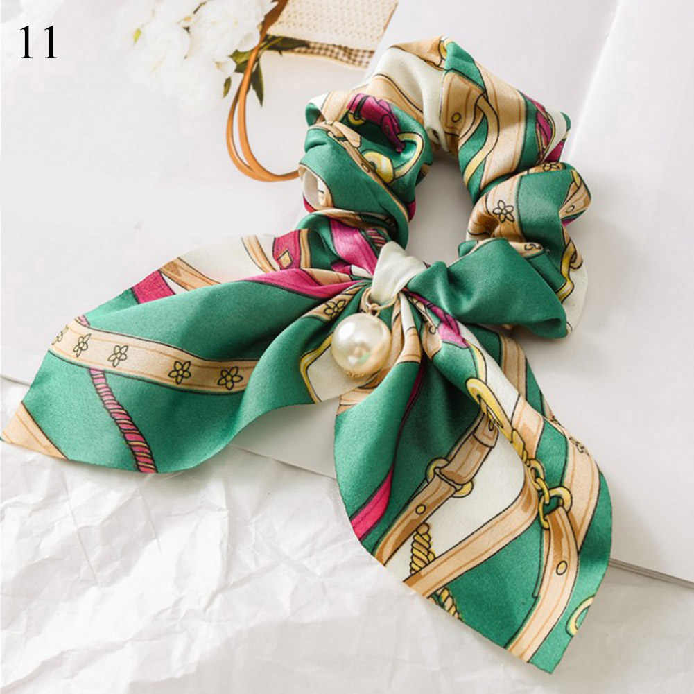 Big Bowknot Scrunchie With Pearl Printed Hair Ties For Girls Women Elastic Hair Rubber Bands Ponytail Holder Hair Accessories