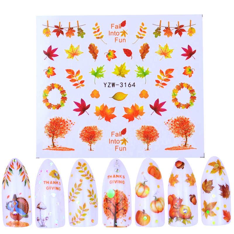 1 シートネイルアートウォーター秋のテーマネイルのスライダーの装飾のヒントカエデの葉のステッカーネイルアートアクセサリー入れ墨