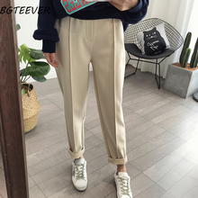 BGTEEVER Spring Thicken Women Pencil Pants Plus Size Wool Pants Female Autumn High Waist Loose Trousers Capris Good Fabric cheap COTTON Acrylic Ankle-Length Pants LY3498 Solid Casual Flat REGULAR Pockets Button Broadcloth Button Fly autumn winter