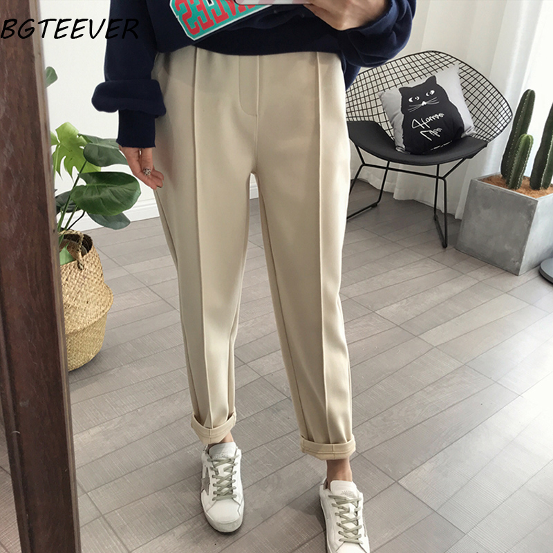 BGTEEVER Spring Thicken Women Pencil Pants Plus Size Wool Pants Female Autumn High Waist Loose Trousers Capris Good Fabric Women Women's Clothings Women's Jeans cb5feb1b7314637725a2e7: Apricot|oatmeal|black
